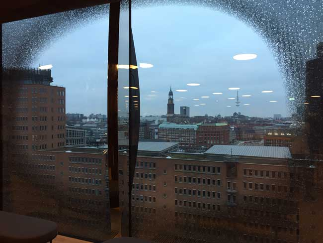 View of Hamburg from the viewing deck of Elbphilharmonie. Photo by Janna Graber
