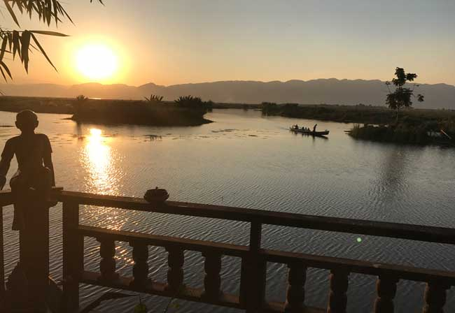Sunset on Inle Lake. Photo by Sherrill Bodine