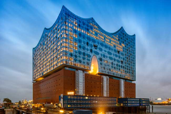 The Elbphilharmonie in Hamburg is surrounded by water on three sides. Photo by Hamburg Tourism, Thies Ratzke