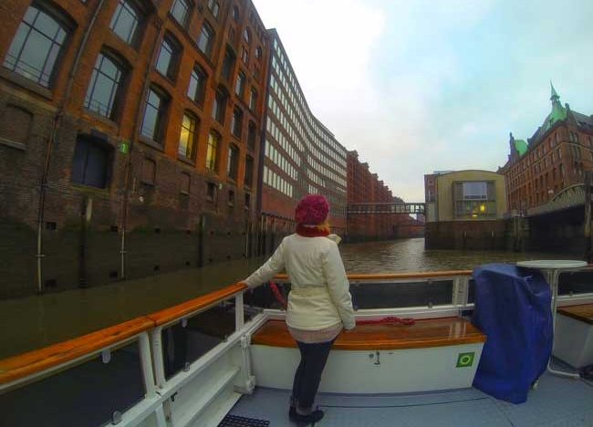 The author cruising through Hamburg's warehouse district. Photo courtesy Janna Graber