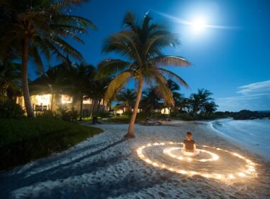 Meditation on the beach at Maya Tulum. Photo courtesy of Maya Tulum Resort