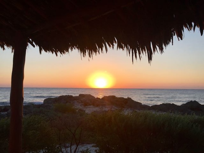 Sunrise from our cabana at Maya Tulum. Photo by Claudia Carbone