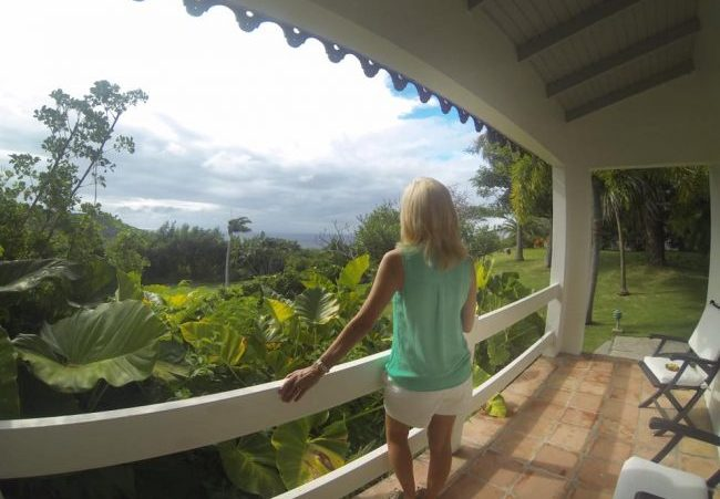 Beautiful view from my cottage at Montpelier Plantation in Nevis. Photo courtesy Janna Graber