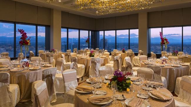 Grand Hyatt Denver's Pinnacle Club set up for a wedding dinner. Photo courtesy of Grand Hyatt Denver