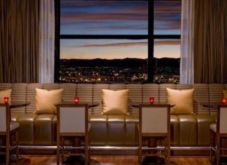 Window seating capturing the view of the mountains. Photo courtesy of Grand Hyatt Denver