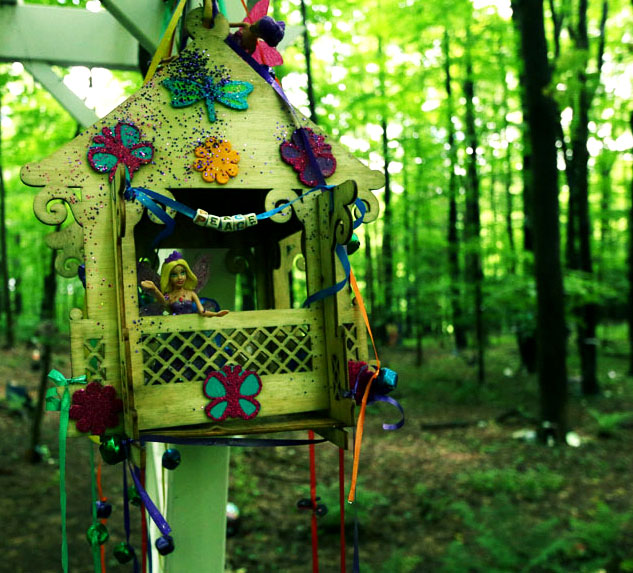 Lily Dale Assembly - One of the many decorative Fairy Houses in the Leolyn Woods Fairy Trail