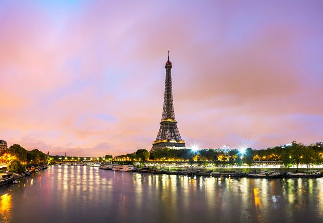 Romantic travel in Paris, France