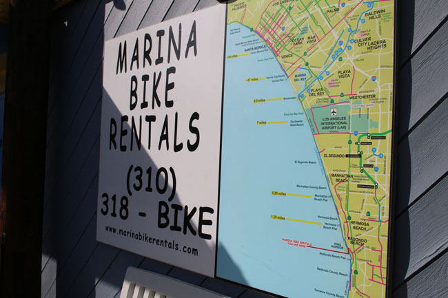 Rent a bike at Marina Bike Rentals in Redondo Beach. Photo by Carrie Dow