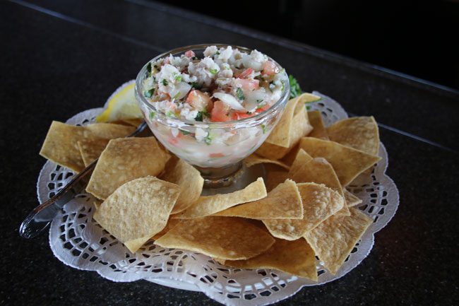 Red snapper ceviche with house-made tortilla chips. at Tony's on the Pier. Photo by Carrie Dow