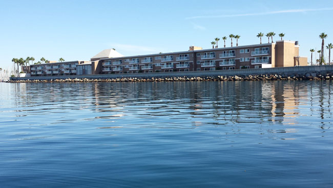 The Portofino Resort and Hotel has ocean and marina view rooms with balconies. Photo by Carrie Dow