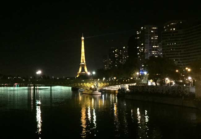 The Eiffel Tower comes into view as we cruise into Paris. Photo by Janna Graber