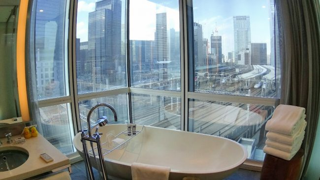 Four Seasons Tokyo bathtub and view