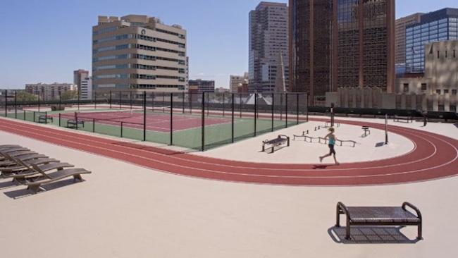Rooftop tennis court and running track at Grand Hyatt Denver. Photo courtesy of Grand Hyatt Denver