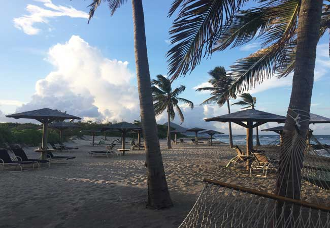 Nevis has many beautiful beaches, including this one at Nisbet Plantation Beach Club. Photo by Janna Graber