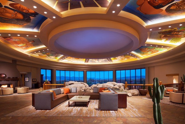 Upper lobby with ceiling murals. Photo courtesy of Sheraton Grand