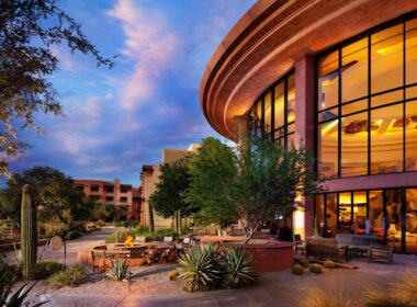 "Patio for storytelling in ""backyard"" of Sheraton Grand at Wild Horse Pass. Photo courtesy of Sheraton Grand at Wild Horse Pass"