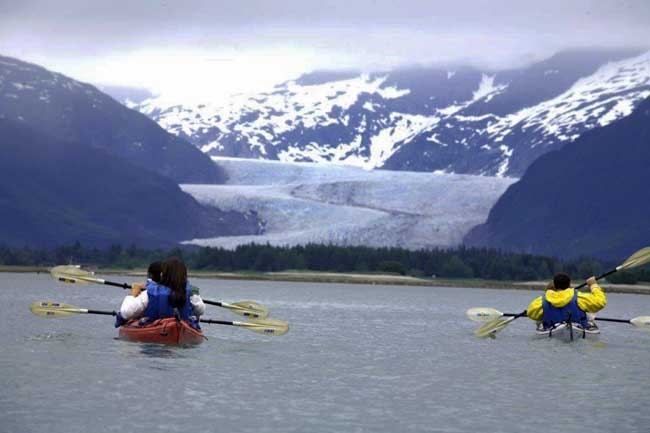 Kayaking near Mendenhall Glacier in Alaska. Photo by Victor Block