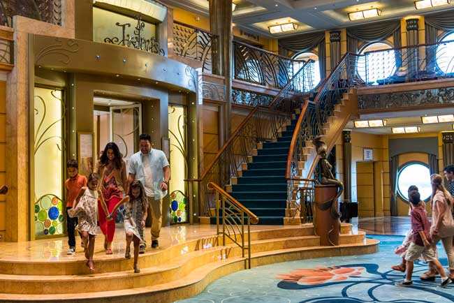 The three-deck atrium in the Disney Wonder features Art Nouveau-inspired details. Photo by Matt Stroshane