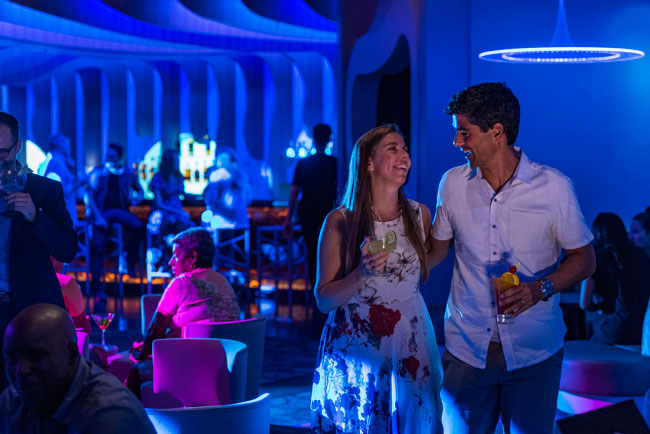 Adults can escape the Azure nighclub, which is part of After Hours, an adults-only district on the Disney Wonder. Photo by Matt Stroshane