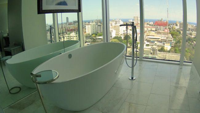 Bathtub in luxury hotel suite