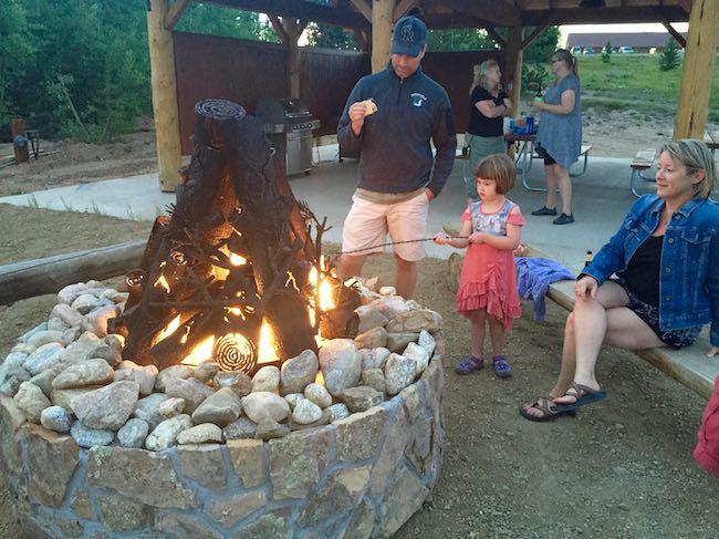 S'mores around the Yurt Village campfire at Snow Mountain Ranch. Photo by Claudia Carbone
