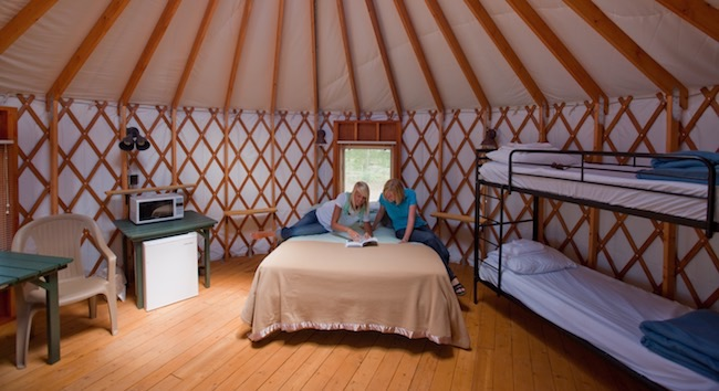 Inside the yurt at Snow Mountain Ranch. Photo courtesy of YMCA of the Rockies