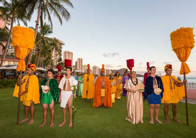 The Aloha Festival Court at the Royal Hawaiian in Oahu. Credit Hawaii Tourism Authority (HTA) / Tor Johnson