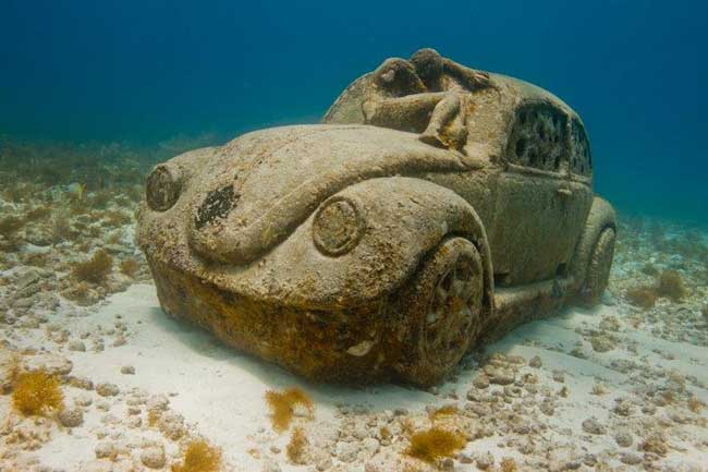 "Best unusual museums - ""Thing Blue,"" an exhibit at Museo Subacuatico de Arte near Cancun, Mexico. Photo by Jason de Caires Taylor"