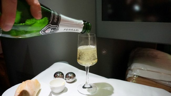 Ferrari sparkling wine on Alitalia