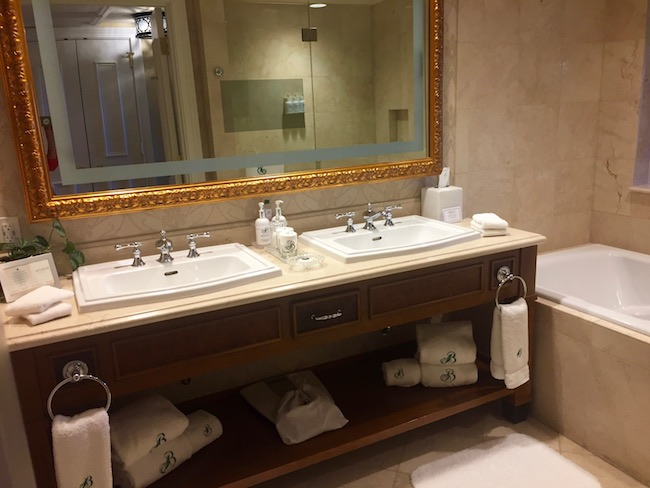 Spacious bathroom with two sinks. Photo by Claudia Carbone