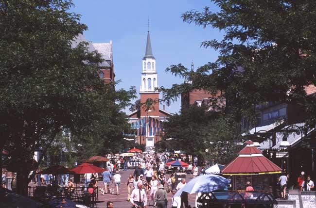 Church Street Marketplace, a pedestrian mall. Photo by Vermont Tourism