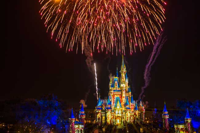 Happily Ever After is the new fireworks and projection show at Magic Kingdom. It features scenes from 25 Disney films. Photo by Matt Stroshane