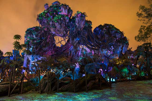 At night, Pandora comes alive with glowing, bioluminescent flora and fauna. Photo by David Roark