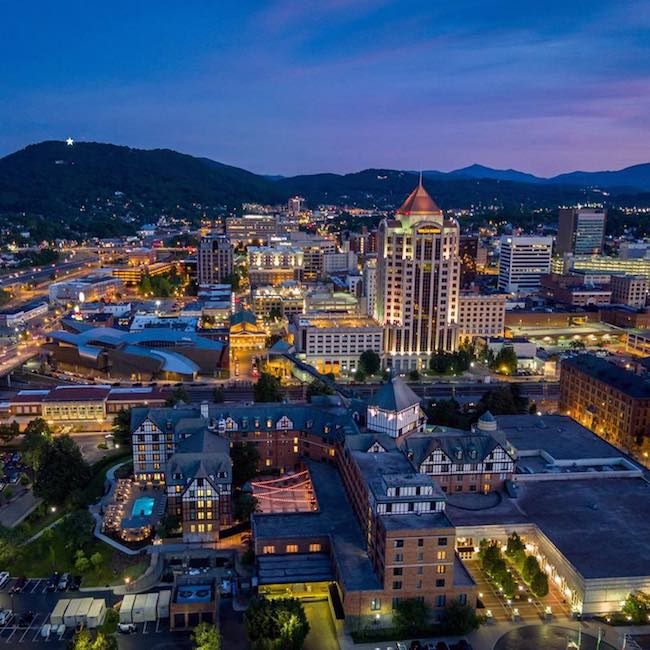 Hotel Roanoke in foreground with star in background. Photo courtesy of Hotel Roanoke