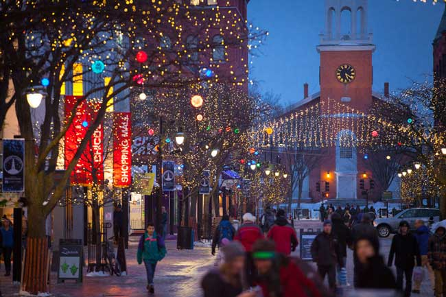 Winter in Vermont brings holiday festivities and winter sports. Photo by Vermont Tourism