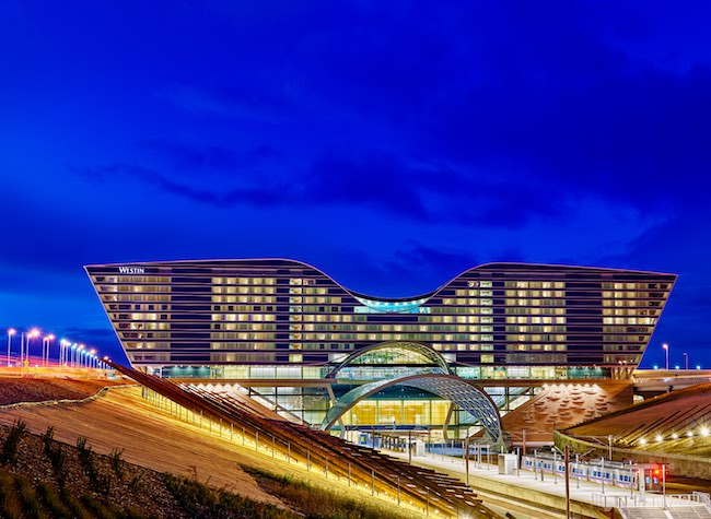 Westin DIA with train station in foreground. Photo courtesy of Westin DIA