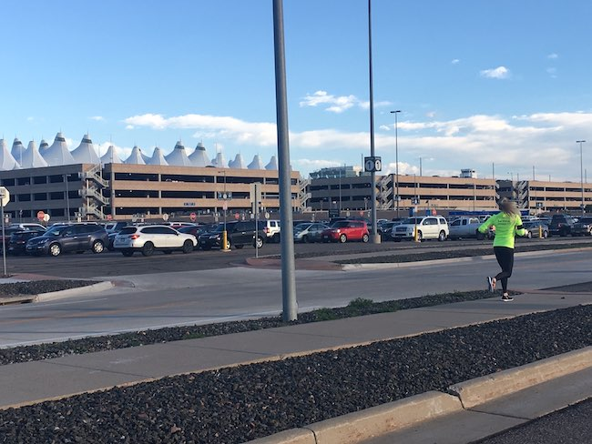 A runner on the 3-mile path around DIA. Photo courtesy of Westin DIA.