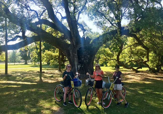 My friends and I take a three-hour bike tour of New Orleans.