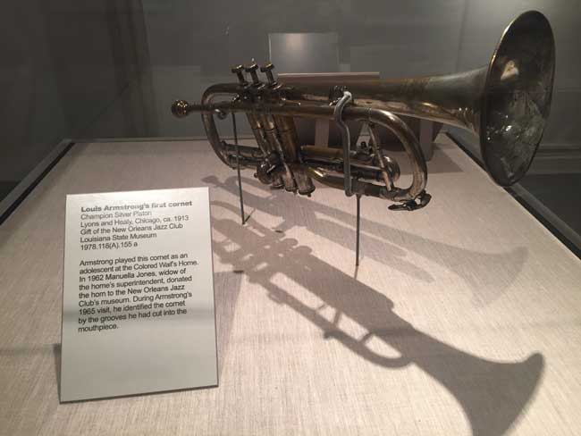 Louis Armstrong's first coronet is on display at the New Orleans Jazz Museum. Photo by Janna Graber