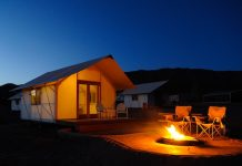 Night glamping at Echo Canyon Campground in Colorado. Photo courtesy of Echo Canyon