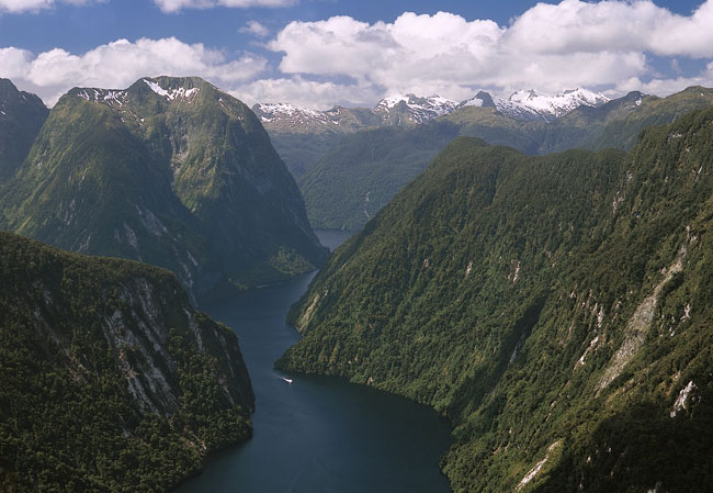 Travel in New Zealand with New Zealand In Depth includes a cruise on Doubtful Sound in Fiordland National Park. Photo by Real Journeys