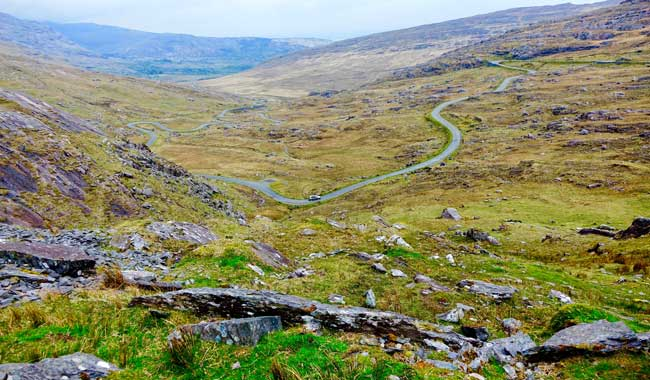 "Group tour of Ireland - Looking down on ""Ireland's bendiest road."" Photo by Robert N. Jenkins"