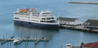 Great Lakes Cruise. Victory 1 cruise ship docked at Mackinac Island Michigan. Photo by Pat Woods