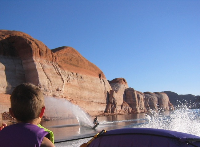 Water skiing at Lake Powell. Photo by Claudia Carbone