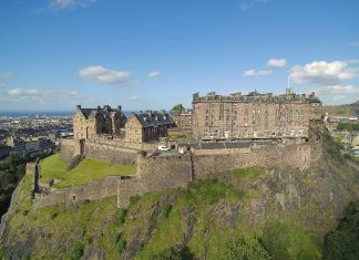 Drone view of Edinburgh Castle