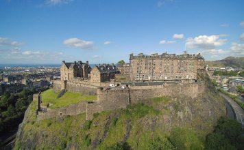 Drone view of Edinburgh Castle