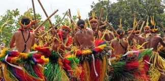 Travel in Yap - A bamboo dance during a festival in Yap, a 36-square-mile island in Micronesia. Photo by Joyce McClure