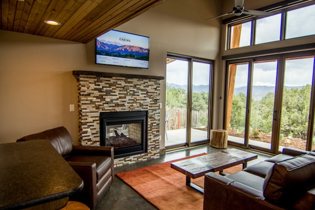 Living room with mountain views. Photo courtesy of Echo Canyon River Expeditions