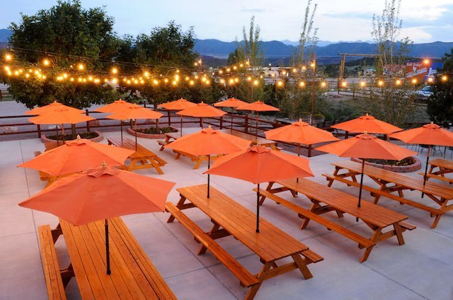 Patio outside 8 Mile Bar & Grill. Photo courtesy of Echo Canyon River Expeditions