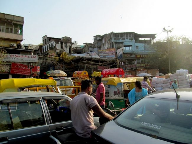 Old Delhi. This is not rush hour, this is every hour. Photo by Carol Bowman